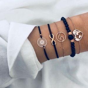 'In Bloom' 5-piece Gold Tone Earthy Bracelet Set